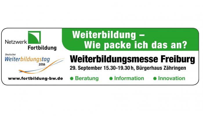 """Ankündigung: """"Weiterbildung neu denken"""" Weiterbildungsmesse in Freiburg im Bürgerhaus Zähringen am 29.09.2016"""